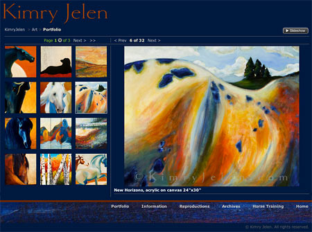 Kimry Jelen website gallery photo sharing sections