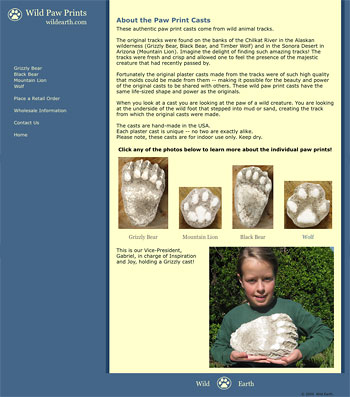casts of the tracks of grizzly, black bear, mountain lion, wolf